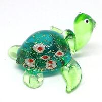 NEW FIGURINE Brown GLASS Turtle Aquarium MINIATURE Handmade Art Collection