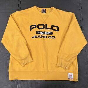 Vintage Polo Jean Ralph Lauren Distressed Sweatshirt Men Large RL67 Embroidered