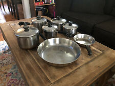 Vintage 12 Piece Revere Ware 1801 Copper Clad Stainless Steel Cookware Set
