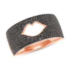 Womens 0.78 CT 14K Rose Gold Natural Round Black Diamond Lips Wide Ring Band