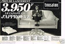 Publicité advertising 1985 (2 pages) Les Meubles Canapé cuir Tousalon