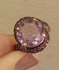 14K Yellow Gold PINK AMETHYST Ring With RUBY Accents Set in Black Rhodium