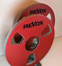 "2 X REVOX IN RED CARBON FIBER LOOK  METAL REEL TO REEL 10.5"" X 1/4"""