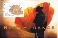Stamps Australia ANZAC 2012 Remembrance mini sheet ex PNC gold postmark uncommon