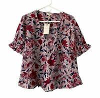 NWT Lucky Brand Women's Blouse Short Sleeve Floral Sz M