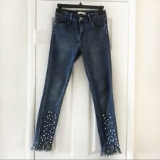 Redial Premium Denim Pearls Ripped Frayed Jeans Size: 6