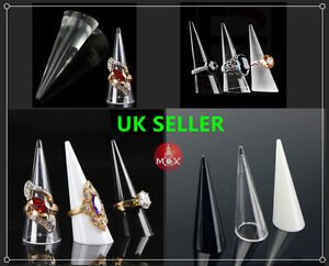 3/5/10 PCS Ring Display Stud Holder Finger Cone Shape Acrylic Black/Clear/White