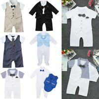 Baby Boy Romper Newborn Gentleman Tuxedo Wedding Outfit Infant Bowtie Party Suit