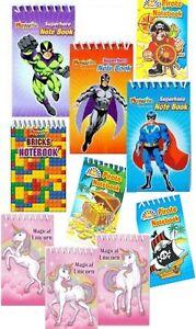 Spiral Notebook Jotter Notepad - Pirate - Bricks - Superhero - Unicorns 8 x 5 CM