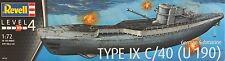 GERMAN U-BOOT TYPE IX C/40 (U 190) REVELL 1/72 PLASTIC KIT