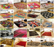 Floor Rugs Mats Hard Wearing Oblong Retro Funky Many Designs Colours & Sizes 120 X 160 Prix
