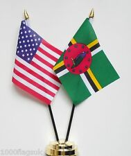 United States of America & Dominica Double Friendship Table Flag Set