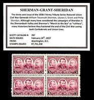 1937 - SHERMAN - GRANT - SHERIDAN - Mint -MNH- Block of 4 Vintage Postage Stamps
