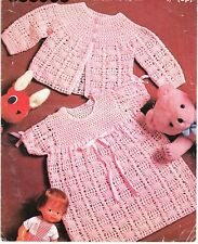 Baby Crochet Pattern copy  Patons Gorgeous dress and matching jacket in 3 Ply