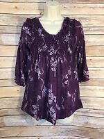 Unity World Wear Womens Top Size Small Purple Print Three Quarter Sleeve