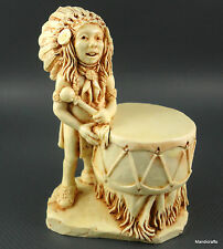 Castagna Italy Drummer Treasure Box Figurine Frog Native Indian Alabaster 1998