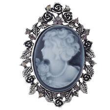 Antiguo Azul Metal Tono Diamante señoras broche camafeo Regalo Victoriano Steampunk