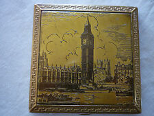 Vintage Square Marlene Etched London Scene Gold Tone Metal Mirror/Powder Compact