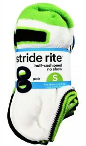 NWT Boys Stride Rite Half-Cushioned No Show 8-Pack Socks Small Multi-Color 7-10