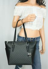 MICHAEL KORS CHARLOTTE LARGE TOP ZIP PVC PEBBLED LEATHER TOTE BAG MK BLACK