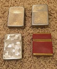 Lot Of 4 Vintage Storm King Queen Lighters Silver Gold Fabric Hipster Midcentury