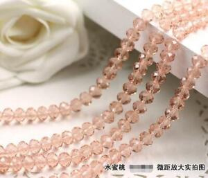 Faceted Rondelle Bicone Glass Crystal Loose DIY Beads Assorted 4mm 71pc 015