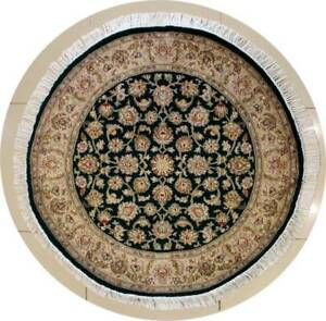 Rugstc 4x4 Senneh Pak Persian Green  Rug, Hand-Knotted,Floral with Silk/Wool