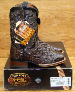"DAN POST Everglades Caiman Cowboy Certified 11"" Square Toe Boot DP3860 Men 8 EW"