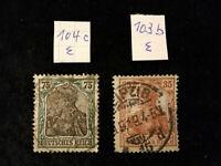 Deutsches Reich 1918 - MiNr. 103 - 104  Germania , BPP geprüft