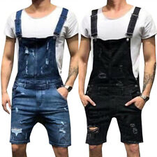 Men's Distressed Bib Overalls Dungaree Denim Shorts Jeans Casual Suspender Pants