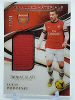 Panini Immaculate 2020 Lukas Podolski Heralded MATCH WORN #97/99 ARSENAL JERSEY