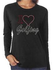 I Heart Golfing Love Rhinestone Women's Long Sleeve Shirts Sports