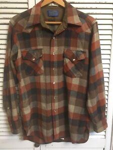 Vintage Pendleton Shadow Plaid High Grade Western Wear Shirt USA Men's Medium