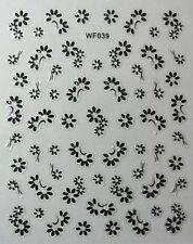 Accessoire ongles : nail art - Stickers autocollants, petites fleurs noires