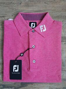 NEW FootJoy Mens Lisle Solid Golf Polo Medium Island Pink Heather 25787