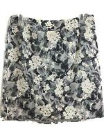 Talbots Woman skirt size 16W petite gray floral lined straight stretch