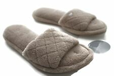 Charter Club Open Toe Scuff Slippers  Taupe Small 5-6