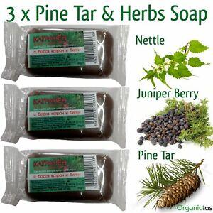 3 x PINE TAR & HERBS Soap Anti-Fungal,Anti-Bacterial,Anti-Inflammatory 60g Milva