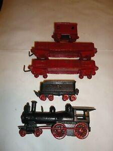 Vintage 1888 Wilkins Cast Iron Floor Train Locomotive Tender Gondolas & Caboose