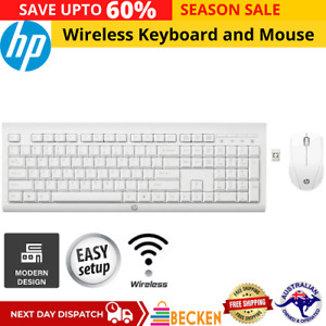 HP Wireless Keyboard and Mouse Combo Bundle Set Desktop PC Laptop Mini USB Mice