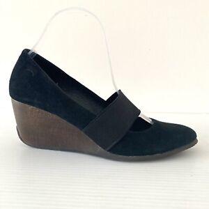 Camper Black Suede Mary Jane Wedge Size 40 Leather Wood Look Heel Elastic Strap