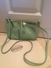Fossil mint green leather cross body bag