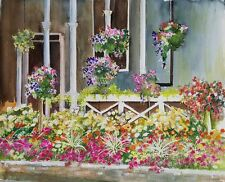 """Painter Suzanne Obrand, Holocaust Survivor Watercolor Painting """"Blooming Garden"""""""