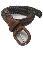 Vintage Full Grain Cowhide Leather Woven Braided Preppy Belt Mens sz 40