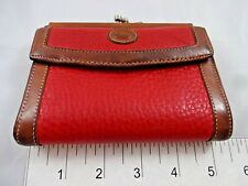 Vintage Dooney & Bourke Red Wallet Pebble Leather Made In USA