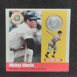 MICKEY MANTLE NEW YORK YANKEES .999 FINE SILVER ROUND COIN AND HOF LEGENDS CARD