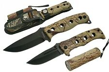HUNTING KNIFE SET 3 PCS. Survival Camo Folding Blade - Fixed Blade - LED Light