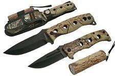 HUNTING KNIFE SET | 3 Pc. Survival Camo Folding Blade - Fixed Blade - LED Light