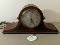 VINTAGE ANTIQUE WOOD MANTLE CLOCK- ELECTRIC SESSIONS WESTMINSTER NO. 27 CHIME