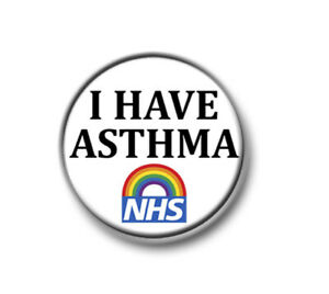 """I HAVE ASTHMA  / 1"""" / 25mm pin button / badge / awareness / medical / exemption"""